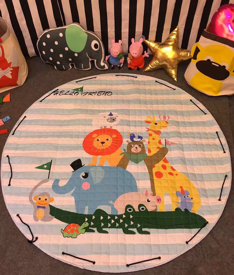Activity & Gear Cartoon Fox Cotton Baby Kids Gym Play Mat Crawling Blanket Portable Round Carpet Children Toys Playmat Storage Bag 150cm