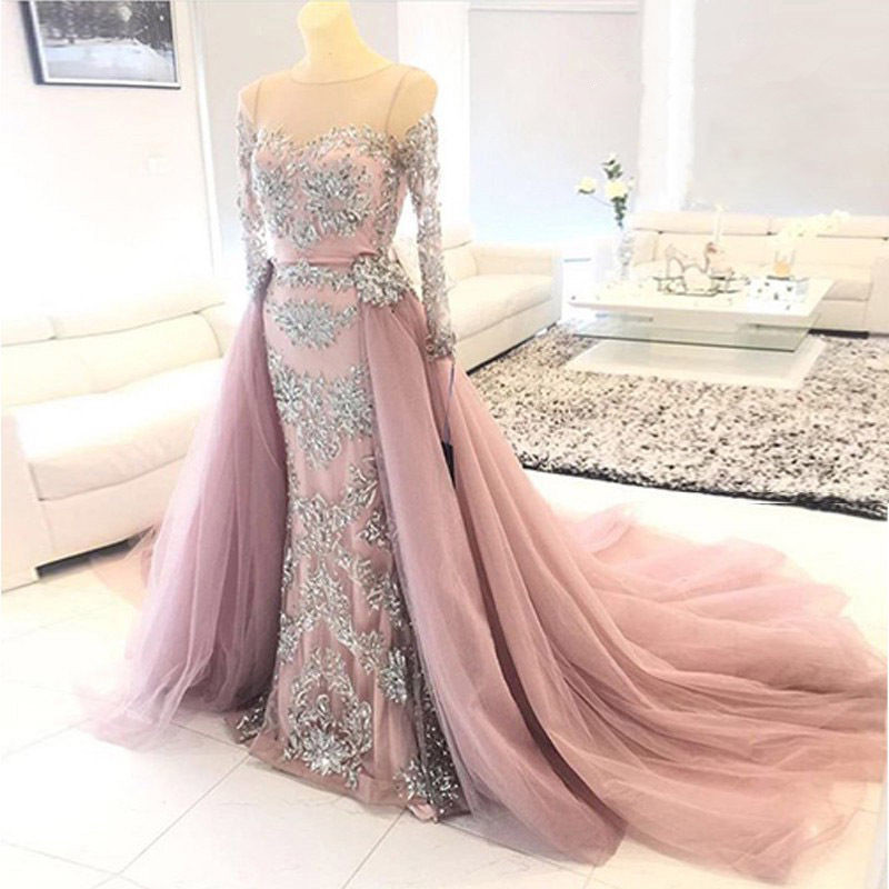 Vintage Mermaid Evening Dress Long Sleeves 2018 Sheer Neck Applique Lace Beaded Formal Prom Gown Removable Train Robe De Soiree in Evening Dresses from Weddings Events