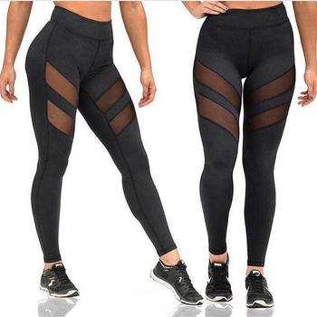 Sport Yoga Pants Women Net Yarn Patchwork Gym Fitness Leggings Breathable Women Sportswear Sport Elastic Trousers Jogging Femme