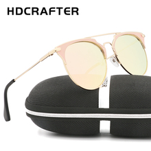 HDCRAFTER High quality Brand Designer half frame Sunglasses Fashion metal women Sunglasses Ladies Shades Female Eyewear