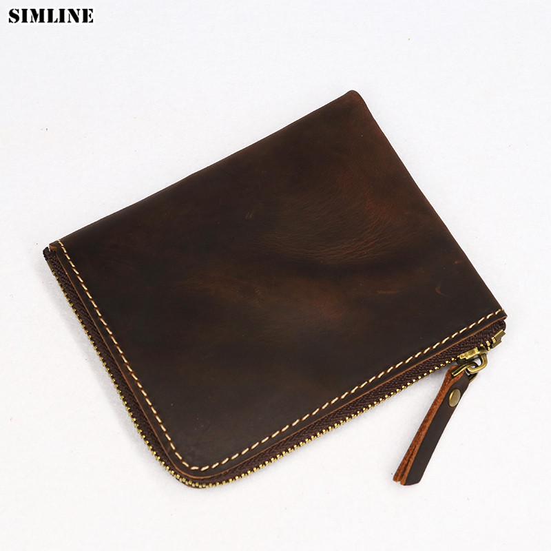 Thin Wallets Male Purse Zipper Crazy-Horse Genuine-Leather Short Coin-Pocket-Card-Holder