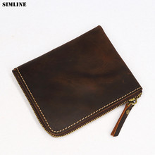 Genuine Leather Men Wallet Crazy Horse Handmade Male Purse Short Vintage Zipper Small Thin Wallets With Coin Pocket Card Holder