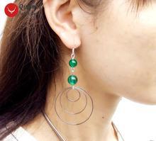 Женские серьги кольца qingmos зеленые круглые 8 10 мм 3 предмета