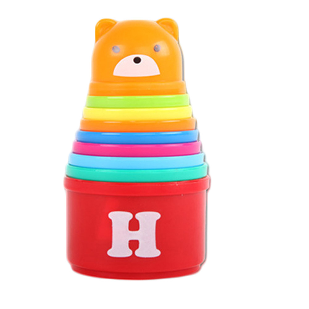 1 Set Kid Play Educational Letters Piles Folding Cups Stacking Bathing Cute Birthday Gift Toys