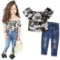 NUEVO ESTILO DE VERANO Niñas moda lindo grils traje ropa mariposa manga Camisa + Vaqueros Pant ropa de rayas para niños