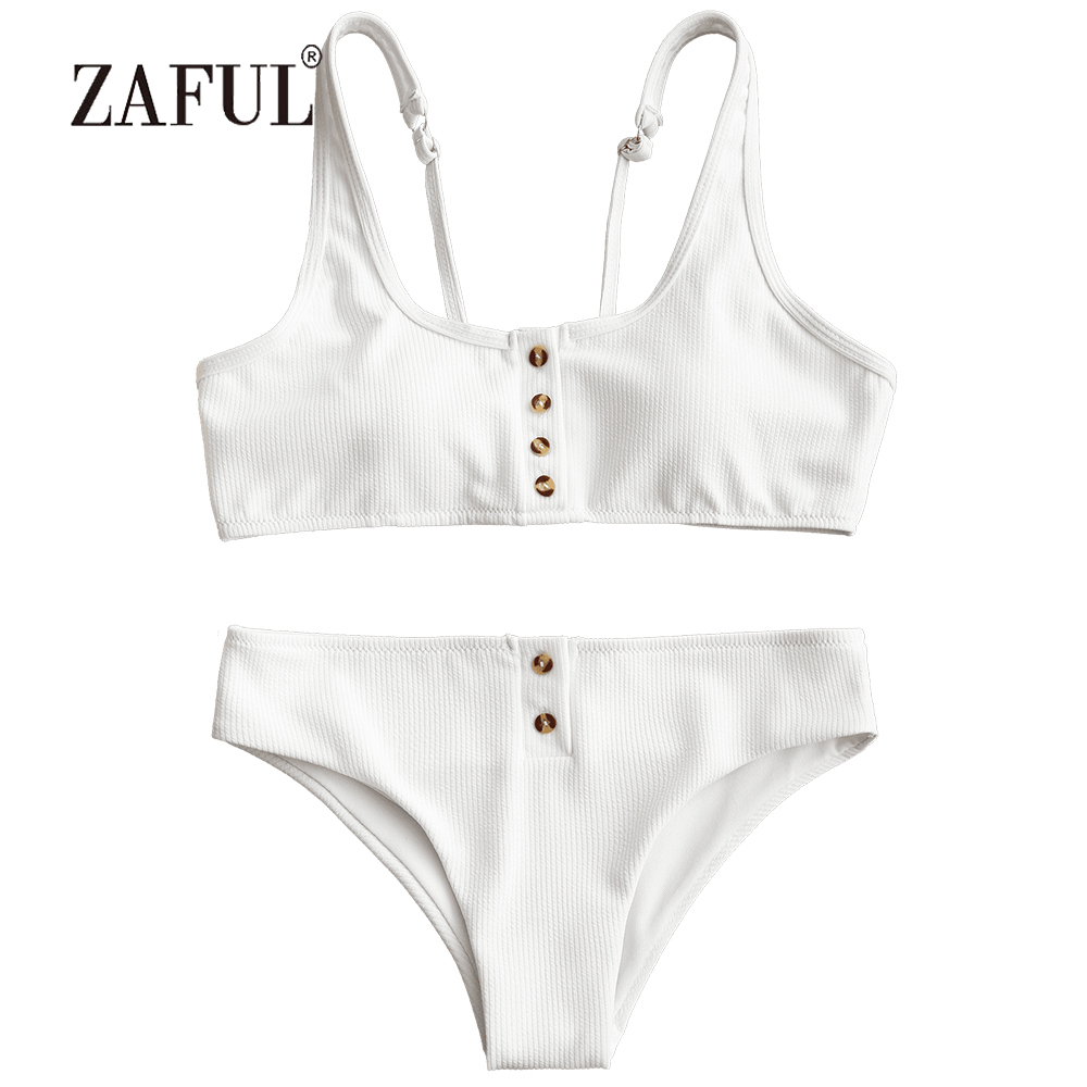 4afc10d3bb9b ZAFUL Women Swimsuit Ribbed Texture Buttons Bikini Set Sexy Scoop Neck  Swimwear Padded Biquni Swimming Suit Solid Swimming Suit