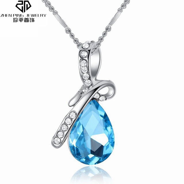 e6778aae6 Water Drop Pendant Necklace Zircon Jewelry Colorful Austrian Crystal for  Women Birthday's Gift