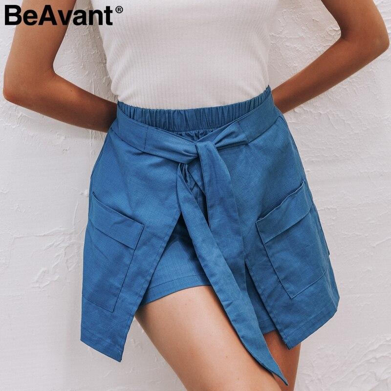 BeAvant Elastic high waist linen summer   shorts   women 2019 Irregular sash pocket hot   shorts   Streetwear black casual   shorts   female