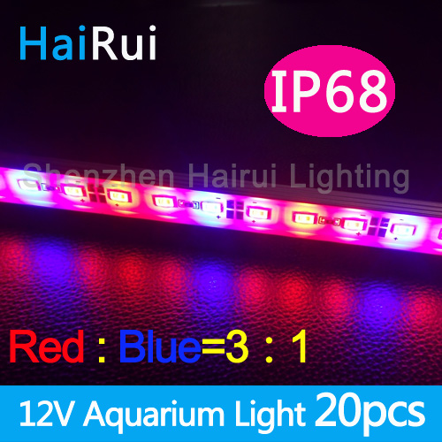 20pcs *0.5m Hydroponic Systems Led Plant grow light Waterproof  DC12V 5730 Led rigid strip 3 Red  1blue,4 red 1 blue led strip light smd5630 5730 waterproof