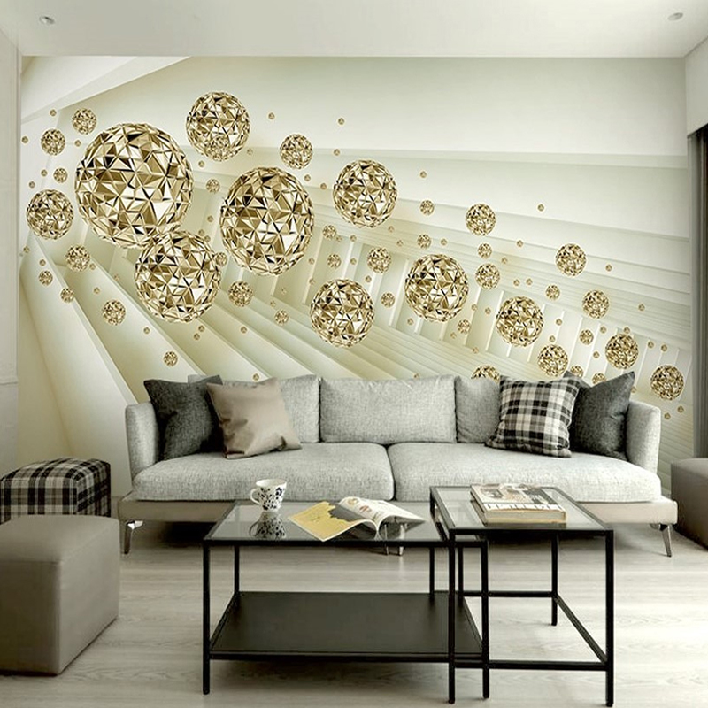 Custom Photo Mural Wallpaper 3D Stereo Abstract Space Golden Ball Modern Fashion Interior Background Wall Decorative Painting free shipping custom modern minimalist stereo geometric abstract pattern 3d floor painting wallpaper