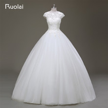 Real Photo High Quality Scoop Applique Flowers Beaded Ball Gown Tulle Wedding Dresses 2017 Short Sleeves Bridal Gown FW79