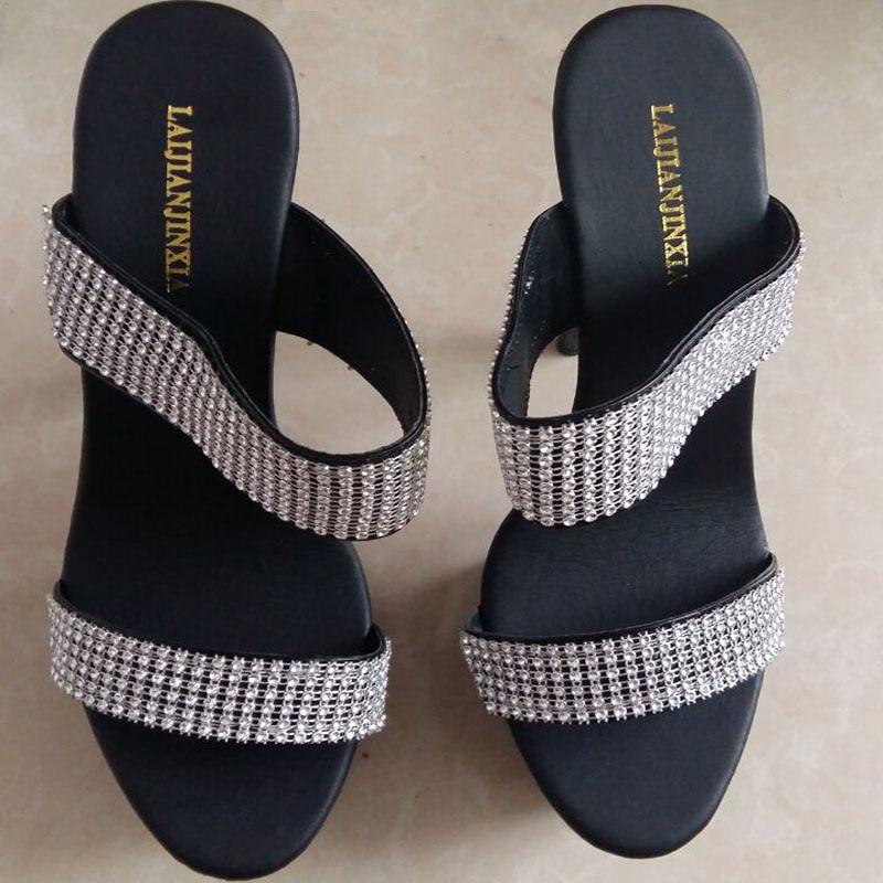 Rhinestone blanco Toboganes Plataforma 15 Del Zapatillas Elegante Pulgadas Zapatos Gladiador Negro fósforo Noble Alto Laijianjinxia 6 Mujeres Tacón Todo Formal qS7wtqH1x