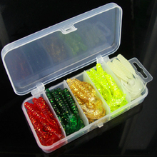Boxed 50Pcs/box 5cm soft bait tail maggot set multi-color bionic silicone bait crankbait fishing gear