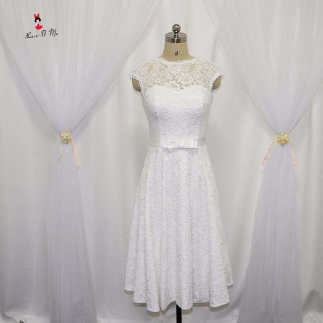 Vestido de Noiva Curto White Lace Wedding Dress Short Knee Length ...