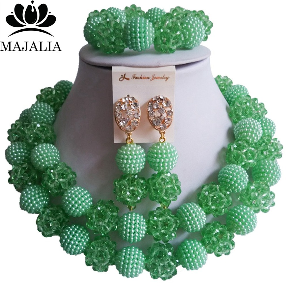 Fashion Nigeria Wedding Green African Beads Jewelry Set Crystal Plastic  Pearl Necklace Bridal Jewelry Sets Free