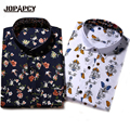 2017 Marca de Moda Camisa Estampa floral dos homens Homens de Manga Longa Slim Fit Camisa de Vestido Ocasional Camisas Sociais Masculinas M-5XL MXB0362
