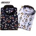 2017 Marca de Moda de Los Hombres Camisa de Estampado floral de Los Hombres de Manga Larga Slim Fit Camisa de Vestir Casual M-5XL Camisas Masculinas Sociales MXB0362