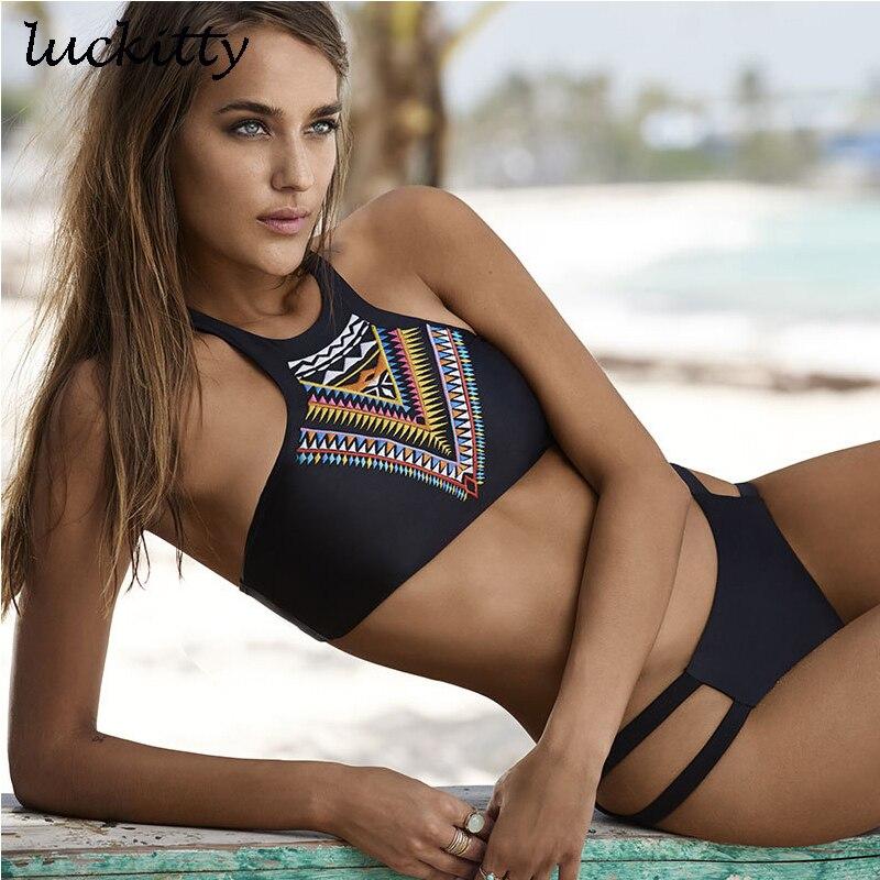 Women Swimsuit Padded Push Up Ladies Bikini Set Swimwear Swim Beach Wear Printed Bandage 2018 Hot New High Neck Bikinis Monokini