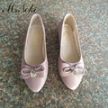 A sra. Noki 2017 Nova Chegada Genuína Mulheres De Couro Apartamentos sapatos de Cristal Mulheres sapatos Bowtie Marca branco preto rosa frete grátis