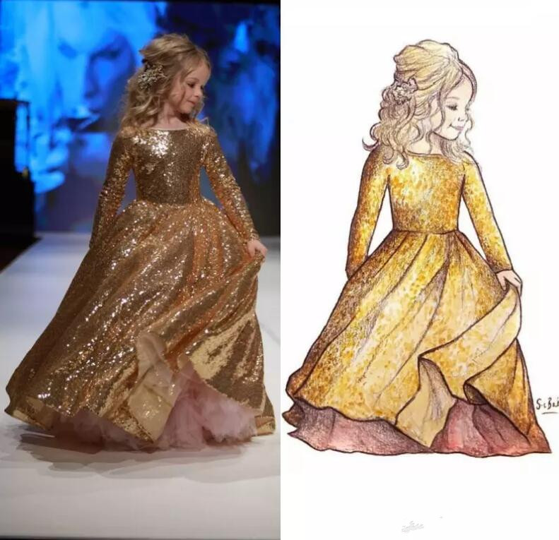 Gold Sequined Girls Dresses Children Graduation Gown Little Girls Formal Wear Custom Made Pageant Party Dress Size 2-16Y custom make little girls party dresses one shoulder lace hand made flowers tiered organza tiered ball gown little girls dress