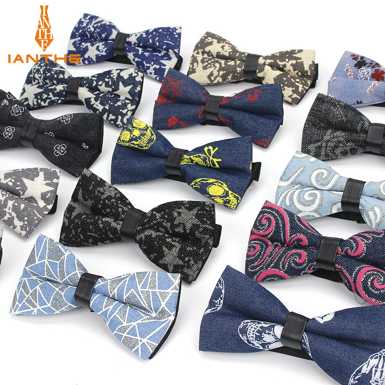 Classic Fashion Skull Star Printted Neck Tie For Wedding Men Fashion Business Bowtie Neckwear Denim Bowtie Butterfly Tuxeo Ties