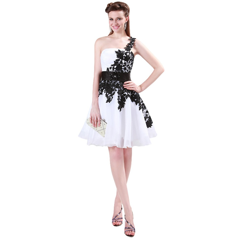 Grace Karin White and Black One Shoulder Lace Short Prom Dresses Ball Gown Knee Length School Party Dress Cute GK4288 8