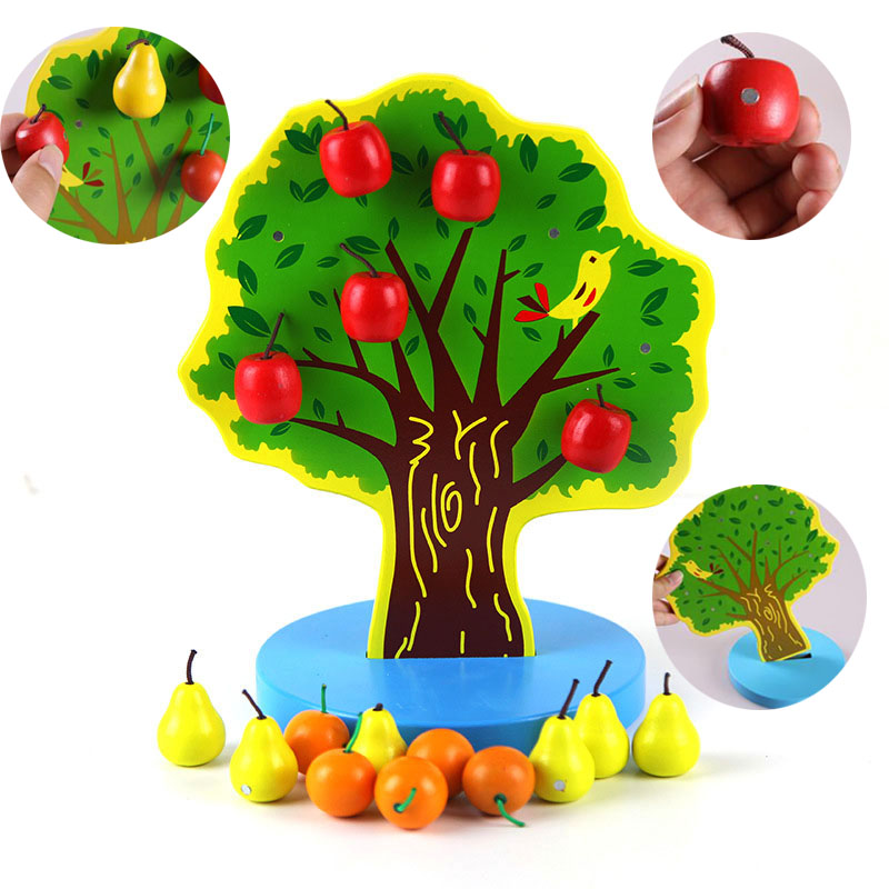 Wooden Education Toys Kids DIY Magnetic Apple Christmas Math Tree Montessori Toys Baby Learning Math Toy Teachin Aids