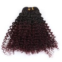 Two Ombre Kinky Curly Brazilian Human Hair Weave Bundles 3 PCS 1B/Burgundy Hair Color Remy Hair Sunny Queen