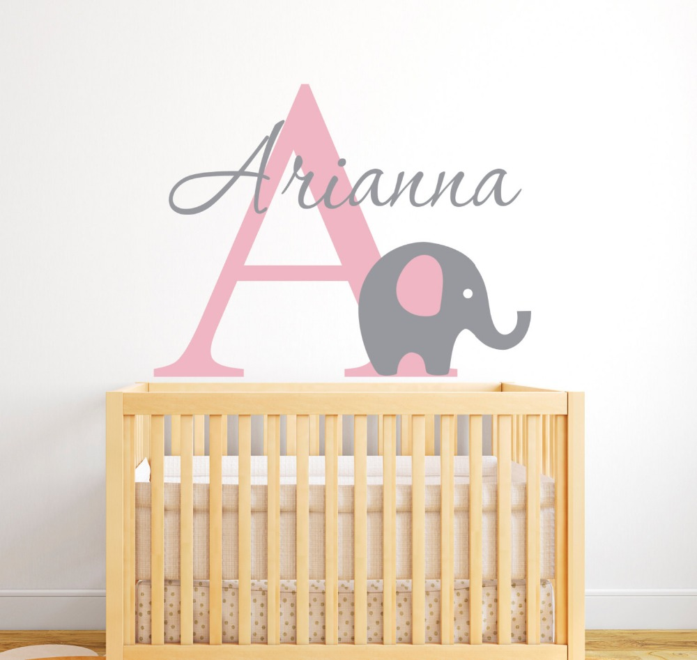 Customize Name Elephant Wall Stickers For Kids Room Personalized Girls Boys Bedroom Nursery Baby Vinyl Wall Decals JW006