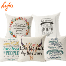 Hyha Classic Words Cushion Cover Cotton Linen Letter Style Famous Aphorism Home Deocrative Pillows Cover for Sofa Cojines(China)
