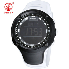 OHSEN Led Watch Ladies Sport Waterproof 50 meters White Rubber Wrist Clocks Unisex Large Women Digital Watch Informal Standard Fashion