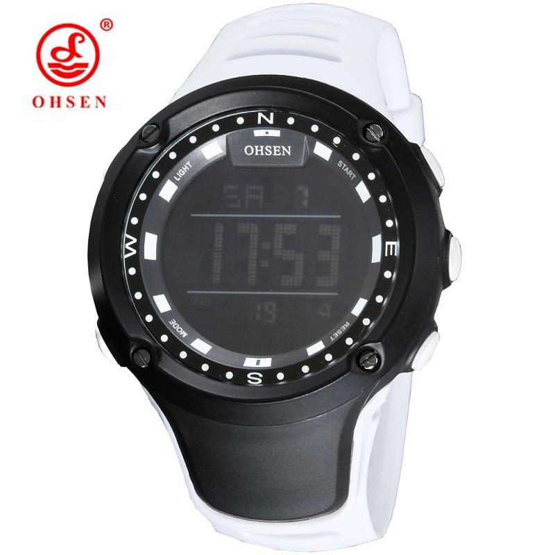 Prix pour Ohsen led montre femmes sport étanche 50 mètres blanc en caoutchouc poignet horloges unisexe grandes dames montre numérique casual populaire style