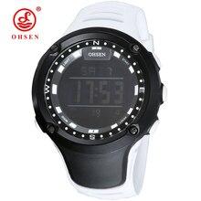 White Unisex Sport Watch Women Waterproof Ladies Outdoor Sports Digital Watches LED Display Wrist OHSEN relogio deportivo mujer