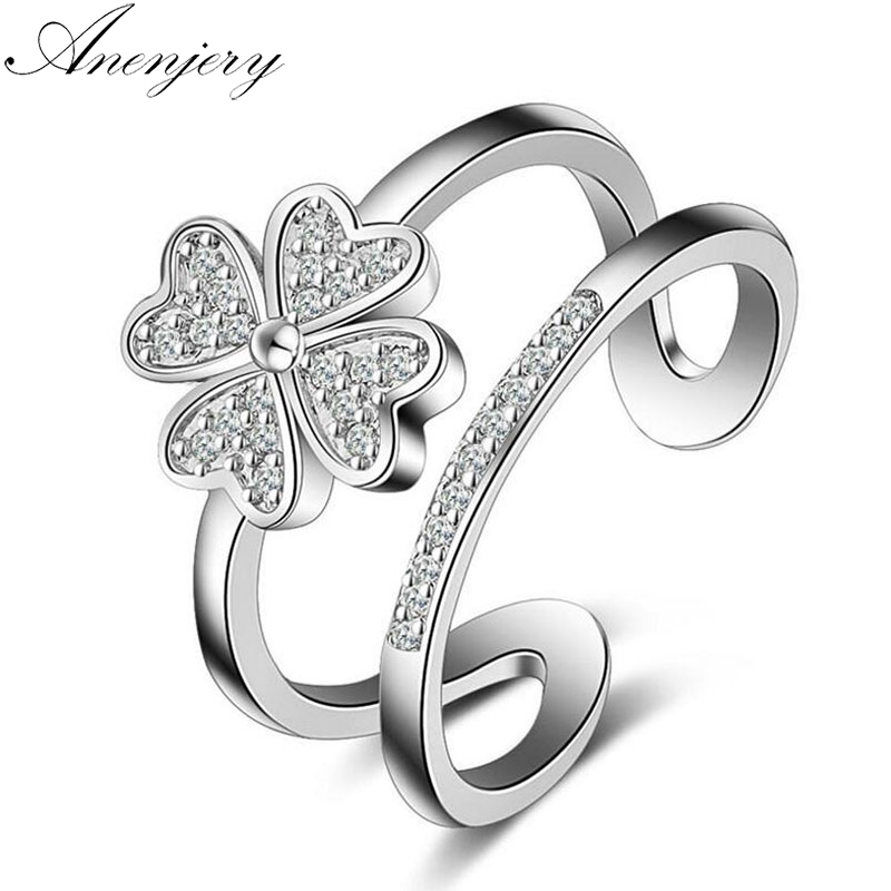Anenjery 925 Sterling Silver Rings For Women Mosaic CZ Zircon Lucky Clover Multi-layer Resizable Rings Bague S-R193(China)