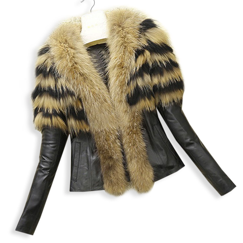 Fashion Women Faux Fur PU leather Jackets and Coat Womens Autumn Winter Fur Jackets Long raccoon fur Collar Coats