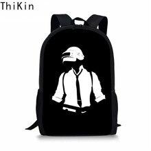 THIKIN Black Men Backpack Cool PUBG Theme Printing Women School Supplies Casual Book Bag for Kids Boy Girls Satchel Plecak