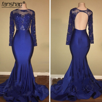 Royal Blue 2019 Prom Dresses Mermaid Long Sleeves Beads Lace Backless Party Maxys Long Prom Gown Evening Dresses Robe De Soiree