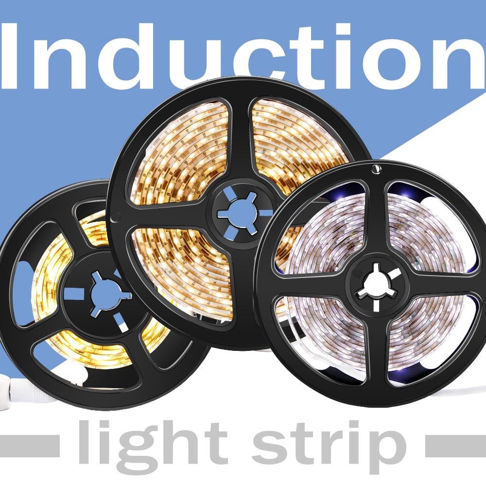 5v Led Light Strip Pir Motion Sensor Night Lights 2835 Neon Led Strip Waterproof Fita 1m 2m 3m Bande Led Stair Cabinet Lamp Bar