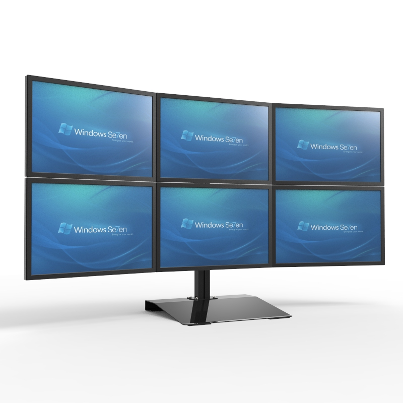 S035 Full Motion 13-24 Inch Screen Monitor Holder 6 Screen Mount Desktop Stand 360 Degree Rotation Loading 10kgs Each Head