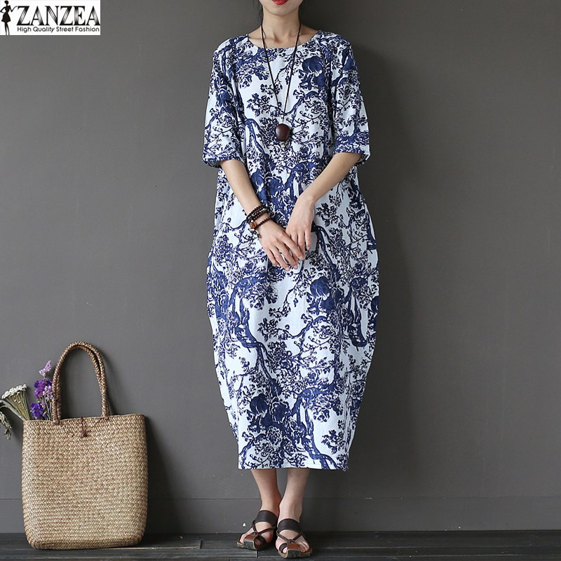 ZANZEA Womens 2018 Summer Vintage Floral Print Crew Neck Party Casual Kaftan Baggy Maxi Long Dress Vestidos Plus Size
