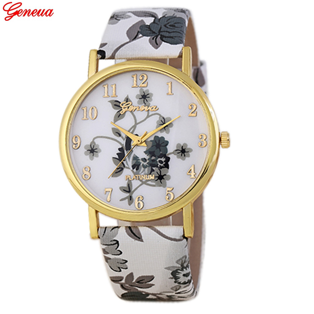 Geneva women watches brand luxury quartz watch flower pattern pu leather band analog dress clock for Watches geneva