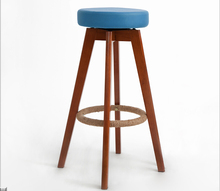 Wooden Swivel Bar Stools Modern Brown Finish Round Leather Foam Seat Backless Indoor Commerical Bar Furniture Chair 29-Inch