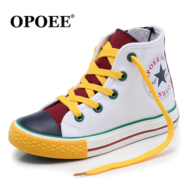 OPOEE Children Black Rubber Head Canvas Shoes Boys Girls High Bang Shoes Gorgeous Color breathable soft board shoes ...