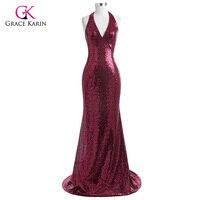 Grace Karin Evening Dress 2017 Halter V Neck Floor Length Sequin Gowns Formal Sparkly Backless Mermaid