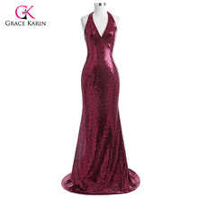 Grace Karin Evening Dress 2017 Halter V Neck Floor Length Sequin Gowns Formal Sparkly Backless Mermaid Party Dress Abendkleider