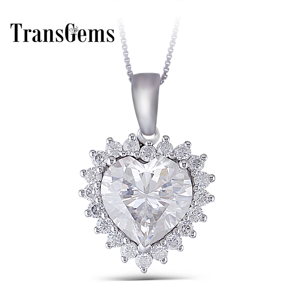 Transgems 14K White Gold Center 5ct 11mm F-G Color Clear Heart Cut Moissanite Halo Pendant Necklace with Accents for Women 18k 750 white gold pendant gh color round lab grown moissanite double heart necklace diamond pendant necklace for women jewelry