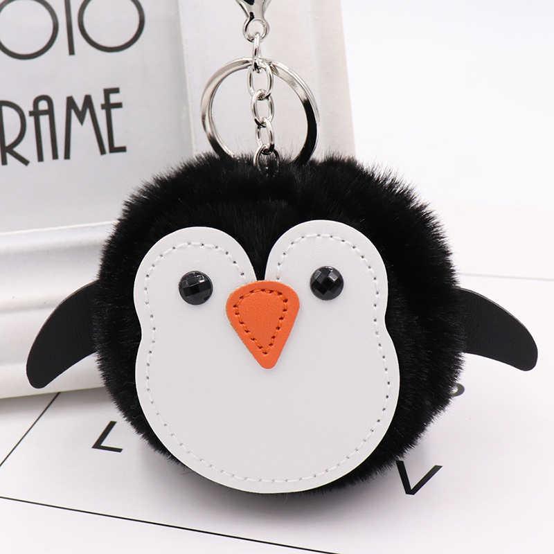 Pinguim bonito Do Falso Pele De Coelho Pompom Mulheres Car Chaveiro Bugiganga Pompom Boneca Saco de Couro Anel Chave Chaveiro de Pele de Coelho Fêmea jóias