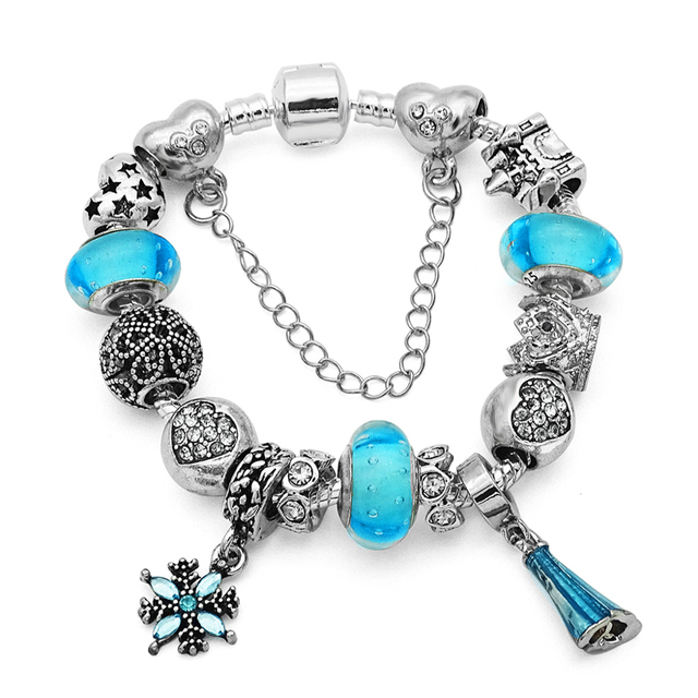 Silver Elsa Princess Charm Bracelet Bangle For Female With Blue Murano Gl Beads Fit Pan
