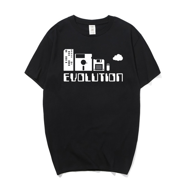 cc7c87e0 New Computer Storage Evolution T Shirts Fashion Men Funny Cotton Short  Sleeves Computer Geek T-shirt Causal O-neck Tops OS-115