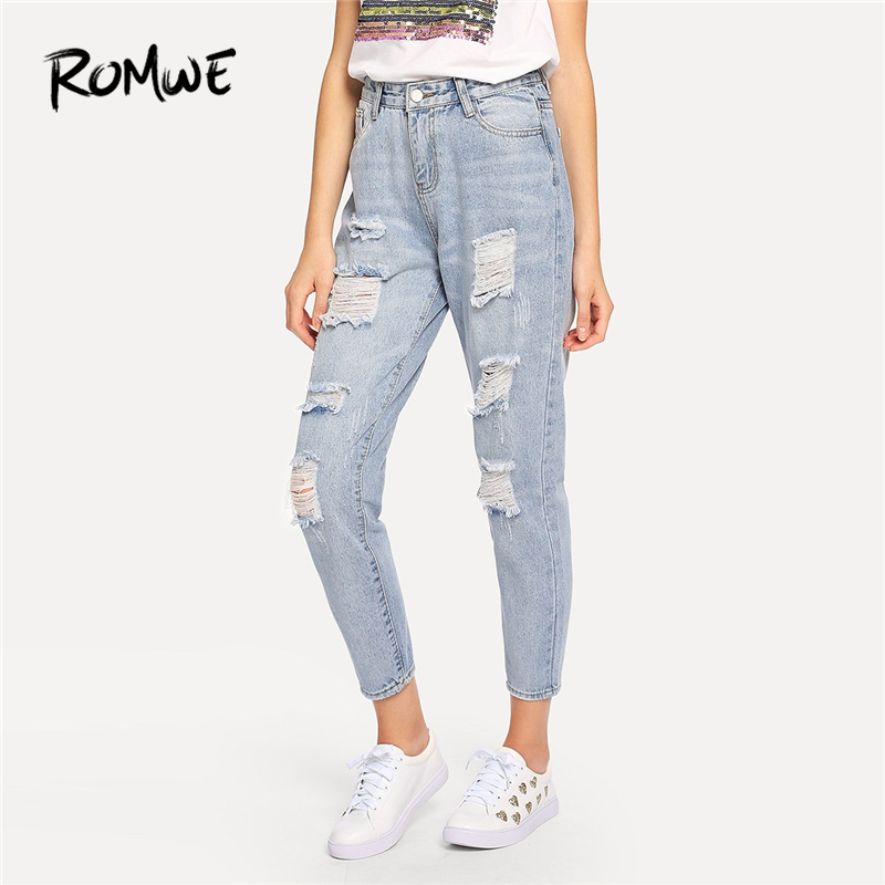 ROMWE Blue Ripped Bleach Wash Denim   Jeans   Women Casual Button Fly Mid Waist Straight Leg Plain Trousers Female Summer Crop Pants